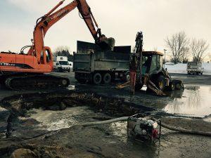 Machinerie pour installation de drain français à Joliette - Plomberie le Plomb