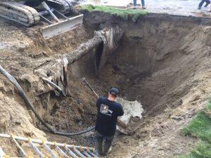 excavation pour l'installation de drain francais à Joliette - Plomberie le Plomb
